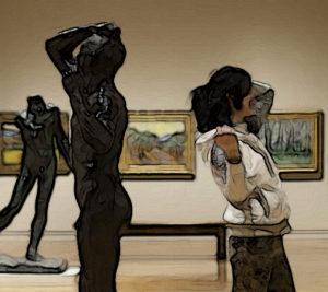 Woman imitating artwork